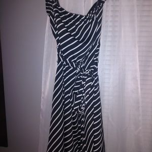 Express black and white strapless dress